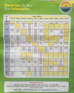 Bus Schedule for Dominical and local towns by Ballena Tales
