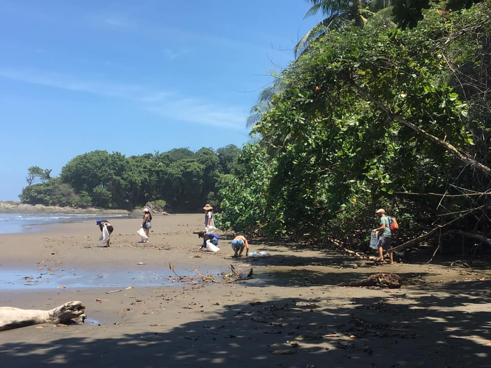 Beach cleanup in Dominical